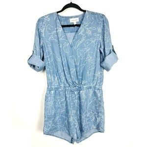 NEW Cloth & Stone Anthro Chambray Floral Romper